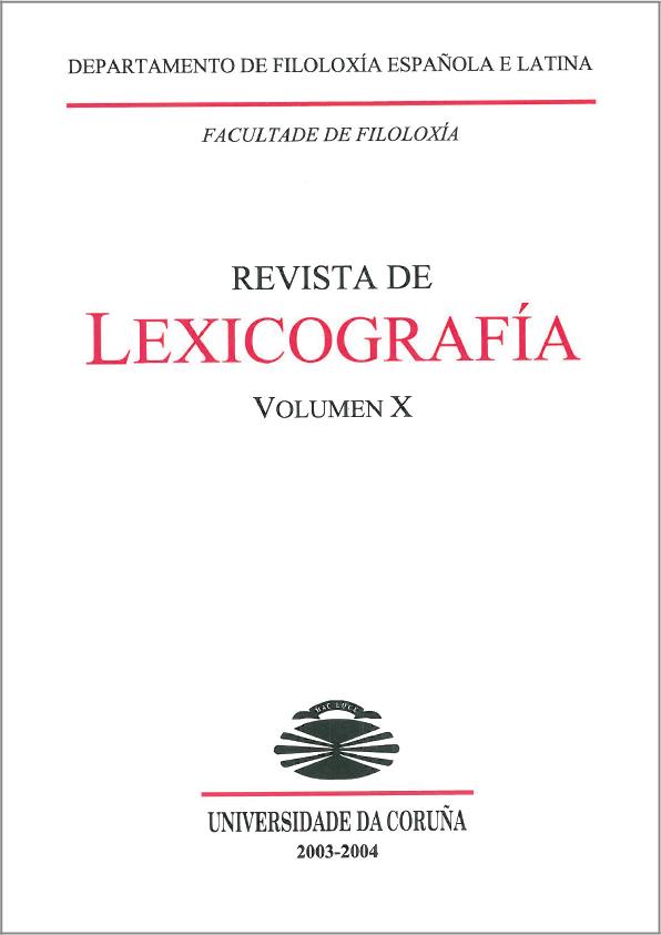 Portada de la Revista de Lexicografía 10