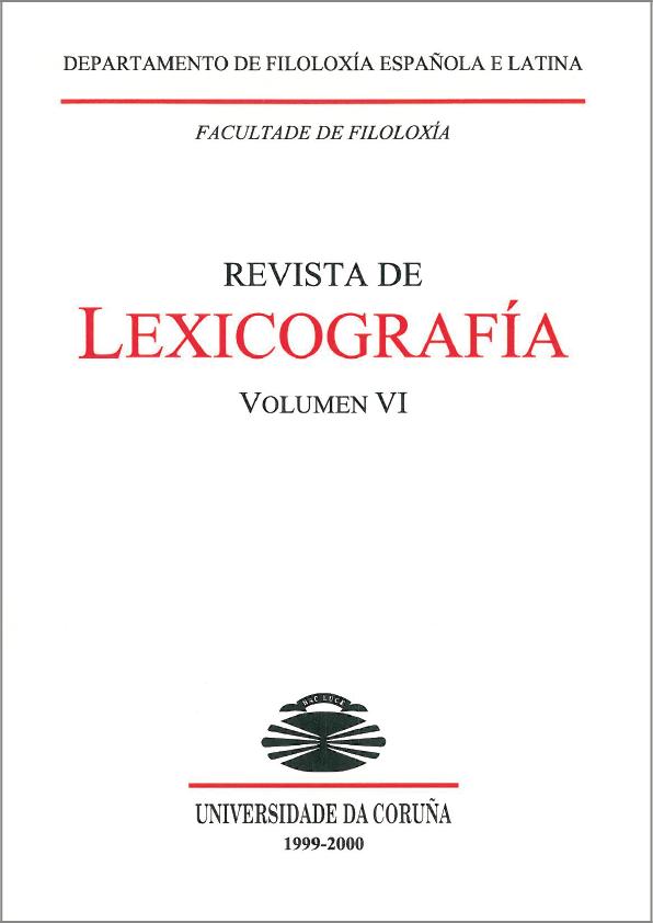 Portada de la Revista de Lexicografía Volumen 6
