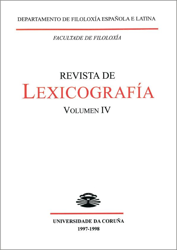Portada de la Revista de Lexicografía Volumen 4