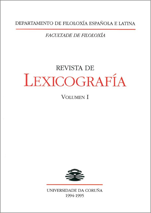 Portada de la Revista de Lexicografía Volumen 1