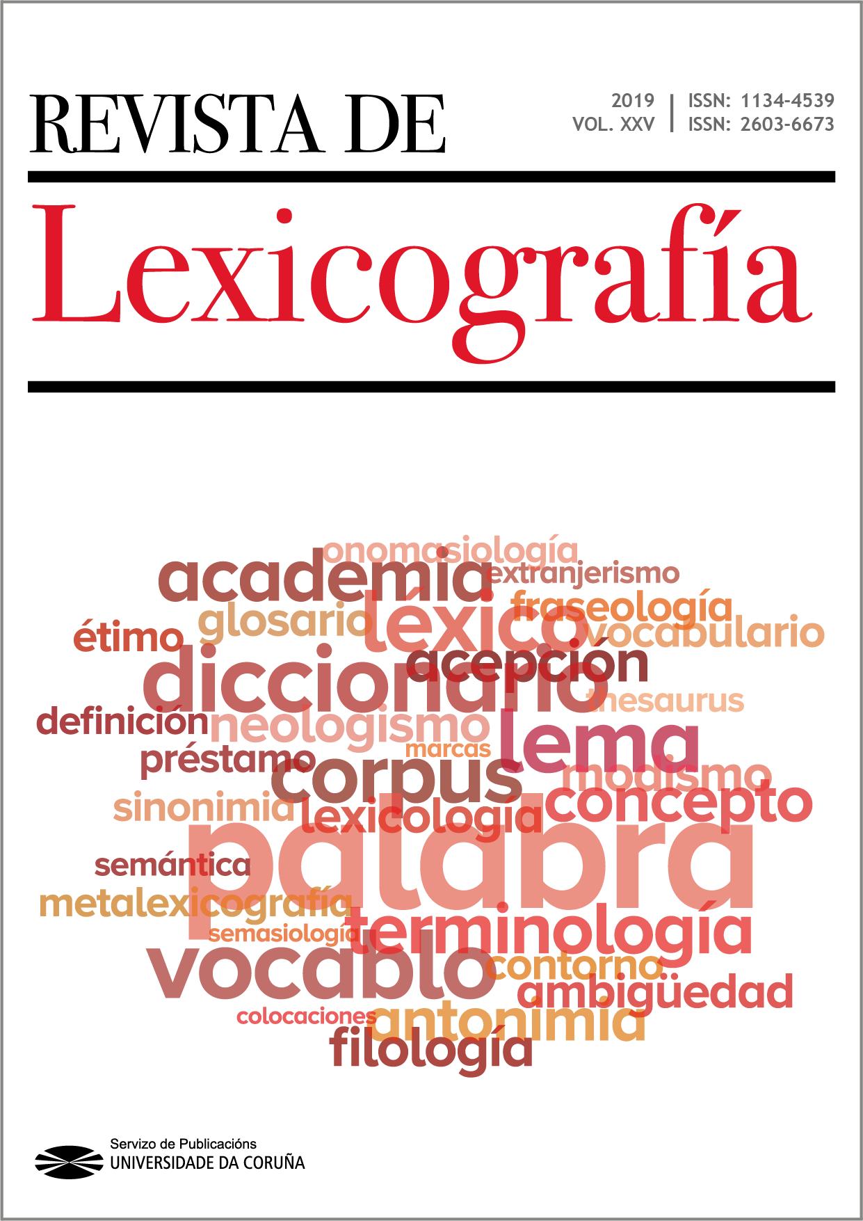 Portada de la Revista de Lexicografía 2019